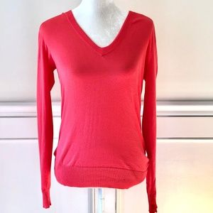 J CREW NWT V Neck Cotton Sweater Bright Coral Pink